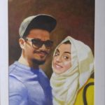 Modern oil painting on canvas of couple in dubai UAE