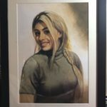 Modern oil painting on canvas of a girl in dubai UAE