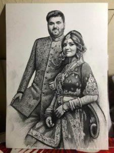 Couple Pencil Sketch In Dubai UAE